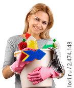 Купить «Девушка в перчатках с губкой, ведром и чистящими средствами», фото № 2474148, снято 20 мая 2019 г. (c) Marina Appel / Фотобанк Лори