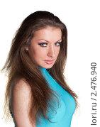 Портрет красивой девушки на белом фоне. Стоковое фото, фотограф Черников Роман / Фотобанк Лори