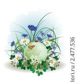 Купить «Божья коровка, бабочка и земной шар», иллюстрация № 2477536 (c) Татьяна Петрова / Фотобанк Лори