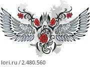 Купить «Рисунок с красными цветами и крыльями», иллюстрация № 2480560 (c) Зданчук Светлана / Фотобанк Лори