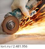 Купить «Резка металла», фото № 2481956, снято 28 января 2020 г. (c) Иван Михайлов / Фотобанк Лори