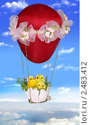 Три цыпленка на воздушном шаре. Стоковое фото, фотограф Ольга Киселева / Фотобанк Лори