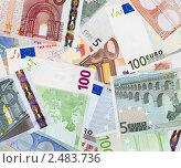 Купить «Фон из банкнот евро», фото № 2483736, снято 23 февраля 2019 г. (c) Яков Филимонов / Фотобанк Лори