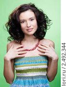 Купить «Портрет привлекательной девушки с волнистыми волосами», фото № 2492344, снято 17 декабря 2010 г. (c) Serg Zastavkin / Фотобанк Лори