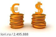 Купить «Евро и доллар символы на монетах», иллюстрация № 2495888 (c) Арсений Герасименко / Фотобанк Лори
