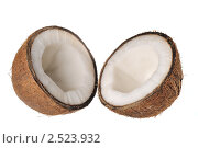 Купить «Расколотый кокос на белом фоне», фото № 2523932, снято 5 мая 2011 г. (c) Денис Ларкин / Фотобанк Лори