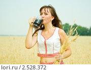 Купить «Девушка в поле с колосьями и квасом», фото № 2528372, снято 28 июля 2010 г. (c) Яков Филимонов / Фотобанк Лори