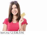 Купить «Девушка с пластиковой картой», фото № 2536516, снято 2 апреля 2011 г. (c) Raev Denis / Фотобанк Лори