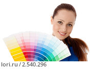 Купить «Молодая женщина с палитрой на белом фоне. Дизайнер интерьера», фото № 2540296, снято 17 мая 2011 г. (c) Мельников Дмитрий / Фотобанк Лори