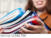 Купить «Улыбающаяся девушка держит в руках папку с деловыми документами», фото № 2542700, снято 4 мая 2011 г. (c) Илья Андриянов / Фотобанк Лори