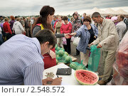 Купить «Продажа арбузов на фермерском рынке», фото № 2548572, снято 18 августа 2010 г. (c) Vladimir Kolobov / Фотобанк Лори