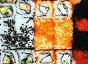 Фон из суши и роллов, японская кухня, фото № 2550948, снято 6 мая 2011 г. (c) Михаил Коханчиков / Фотобанк Лори