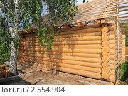 Деревянный сруб нового дома. Стоковое фото, фотограф Юрий Морозов / Фотобанк Лори