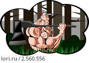 Мускулистый дровосек. Стоковая иллюстрация, иллюстратор Николаев Олег / Фотобанк Лори