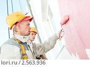 Купить «Маляры красят фасад здания», фото № 2563936, снято 19 октября 2019 г. (c) Дмитрий Калиновский / Фотобанк Лори