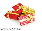 Купить «Коробки для подарков на белом фоне», фото № 2575856, снято 24 апреля 2010 г. (c) Elnur / Фотобанк Лори