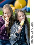 Купить «Две девочки едят мороженое», фото № 2577216, снято 2 июня 2011 г. (c) RedTC / Фотобанк Лори