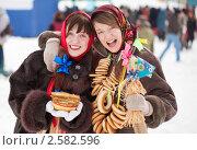 Купить «Девушки празднуют Масленицу», фото № 2582596, снято 6 марта 2011 г. (c) Яков Филимонов / Фотобанк Лори