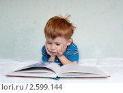 Мальчик читает книгу на кровати. Стоковое фото, фотограф Татьяна Метельская / Фотобанк Лори