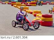Купить «Ребенок на велокарте», фото № 2601304, снято 11 июня 2011 г. (c) Геннадий Соловьев / Фотобанк Лори