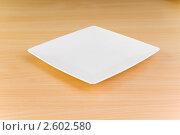 Купить «Квадратная тарелка на столе», фото № 2602580, снято 3 июня 2010 г. (c) Elnur / Фотобанк Лори