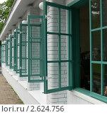 Открытые зеленые оконные ставни. Стоковое фото, фотограф Баранов Александр / Фотобанк Лори