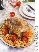 Купить «Запеченная свинина с гарниром из фасоли с томатами», эксклюзивное фото № 2630112, снято 26 мая 2011 г. (c) Александр Курлович / Фотобанк Лори