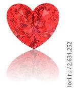 Купить «Красный алмаз в форме сердца на глянцевом белом фоне», иллюстрация № 2631252 (c) Марат Утимишев / Фотобанк Лори