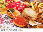 Купить «Блины с икрой и чай», фото № 2640156, снято 6 марта 2011 г. (c) Яков Филимонов / Фотобанк Лори
