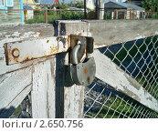 Старый замок на деревянных воротах. Стоковое фото, фотограф Сергей Шихов / Фотобанк Лори