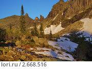 Горы, освещенные закатом. Стоковое фото, фотограф Юрий Караваев / Фотобанк Лори