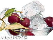 Купить «Спелая вишня и лед в бокале ( натюрморт на белом фоне)», фото № 2670412, снято 25 января 2020 г. (c) RedTC / Фотобанк Лори