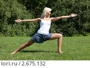 Купить «Девушка выполняет гимнастические упражнения на траве», фото № 2675132, снято 21 июля 2011 г. (c) Михаил Иванов / Фотобанк Лори