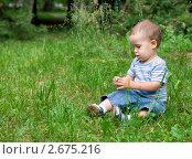Портрет малыша сидящего в траве. Стоковое фото, фотограф Ксения Кузнецова / Фотобанк Лори