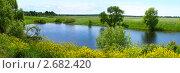 Купить «Летний пейзаж с рекой, панорамный вид, Боголюбово», фото № 2682420, снято 19 августа 2019 г. (c) ElenArt / Фотобанк Лори