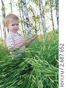 Маленький мальчик в лесу. Стоковое фото, фотограф Ирина Юрченкова / Фотобанк Лори