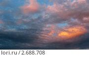 Купить «Плывущие облака на закате. Таймлапс», видеоролик № 2688708, снято 3 июля 2010 г. (c) Алексас Кведорас / Фотобанк Лори