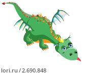 Купить «Зеленый дракон опущенной головой и вытянутым языком», иллюстрация № 2690848 (c) Шупейко Алексей / Фотобанк Лори