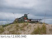 Расчет немецкого пулемета MG 34 (2011 год). Редакционное фото, фотограф Давыдов Юрий / Фотобанк Лори