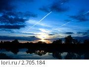 Купить «Закат солнца на озере», фото № 2705184, снято 24 сентября 2010 г. (c) ElenArt / Фотобанк Лори