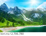 Купить «Летний горный пейзаж (озеро Гозау, Австрия)», фото № 2706780, снято 4 июня 2011 г. (c) Юрий Брыкайло / Фотобанк Лори