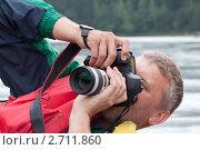 Фотограф на природе с камерой. Стоковое фото, фотограф Яков Филимонов / Фотобанк Лори