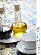 Чашка, масло и бальзамический уксус. Стоковое фото, фотограф Dzianis Miraniuk / Фотобанк Лори