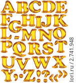 Янтарные буквы латинского алфавита на белом фоне. Стоковая иллюстрация, иллюстратор Любовь Веселова / Фотобанк Лори