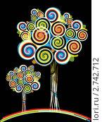 Стилизованные абстрактные деревья из ярких завитков. Стоковая иллюстрация, иллюстратор Евгения Малахова / Фотобанк Лори