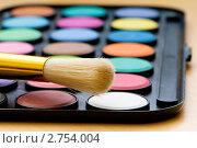 Купить «Краски и кисть на деревянном фоне», фото № 2754004, снято 29 августа 2010 г. (c) Elnur / Фотобанк Лори