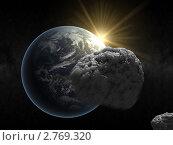 Купить «Астероид на фоне Земли и восходящего солнца», иллюстрация № 2769320 (c) Кирилл Путченко / Фотобанк Лори
