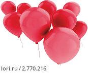 Купить «Красные воздушные шарики на белом», иллюстрация № 2770216 (c) Кирилл Путченко / Фотобанк Лори