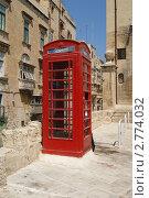 Мальта. Красная телефонная будка. (2011 год). Стоковое фото, фотограф Александр Карябин / Фотобанк Лори