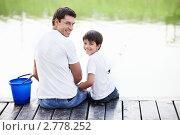 Купить «Отец с сыном на рыбалке», фото № 2778252, снято 13 августа 2011 г. (c) Raev Denis / Фотобанк Лори